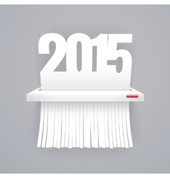 Paper 2015 is cut into shredder on gray vector