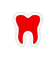 Icon sticker realistic design on paper teeth vector