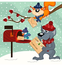 Animals send letters to santa claus vector