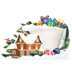 Brick house and christmas gifts vector