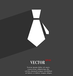 Tie symbol flat modern web design with long shadow vector