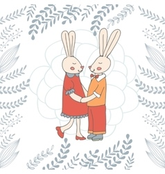 Easter card with cute bunnies couple vector image
