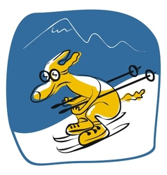 Skiing dog vector