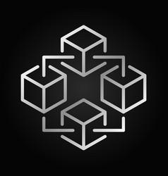 Blockchain technology silver icon block vector