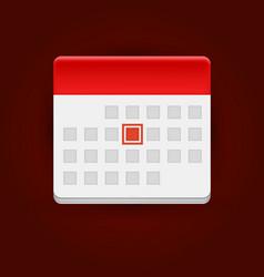 calendar icon on dark background vector image vector image