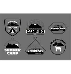 Camping logos set outdoor emblems labels vector