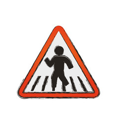 caution sign crosswalking pedestrian vector image vector image