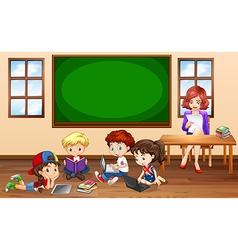 Children doing groupwork in classroom vector