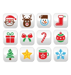 Christmas colorful buttons set - santa present t vector