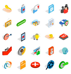 Computer security icons set isometric style vector