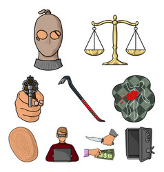 Crime set icons in cartoon style big collection vector