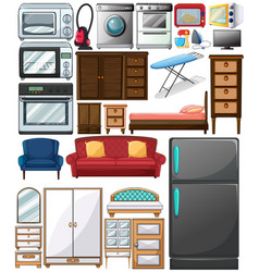 Different types of home appliances vector