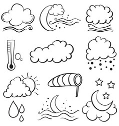 Doodle of weather set cloud moon star wind vector