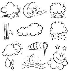 Doodle of weather set cloud moon star wind vector