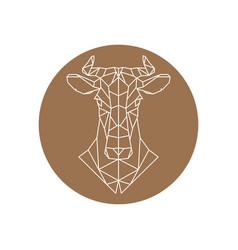 Geometric head of a cow farm animal vector