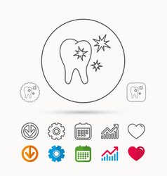 Healthy tooth icon dental protection sign vector