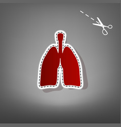 Human anatomy lungs sign red icon with vector