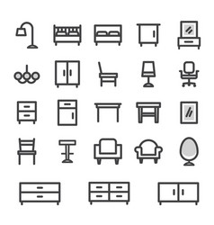 icons set furniture for home and office vector image vector image