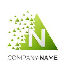 Letter n logo symbol in colorful triangle vector
