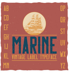 nautical vintage label typeface vector image vector image