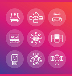 Network internet data technology line icons set vector