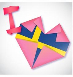 Origami paper I love Sweden heart card vector image