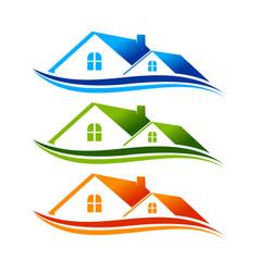 real estate swoosh logo symbol template vector image