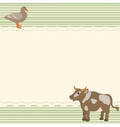 Rural style card with cow and goose vector image vector image