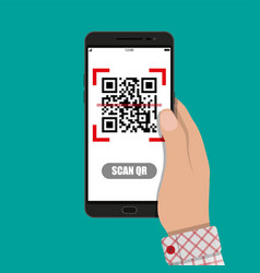scan qr code to mobile phone vector image vector image