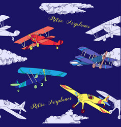 Seaml colors airplanes-06 vector