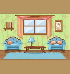 Set cartoon cushioned furniture living room vector