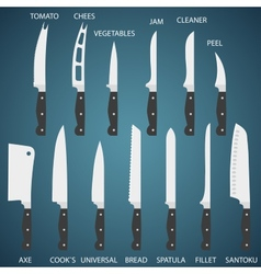 Set flat icons of kitchen knives with signature vector image
