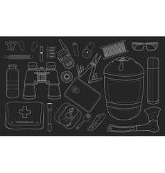 Set of survival camping equipment Chalk vector image vector image