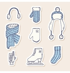 Set of winter stickers hand drawn knitted vector