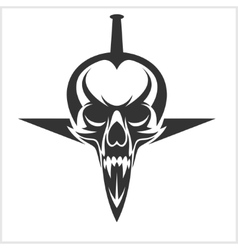 Skull with Sword Stuck vector image vector image