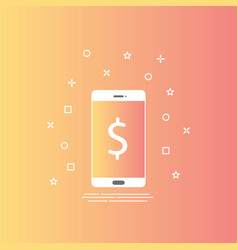 smartphone icon in line style with mobile payment vector image vector image