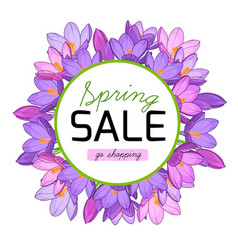 Spring sale promo banner crocus flowers wreath vector