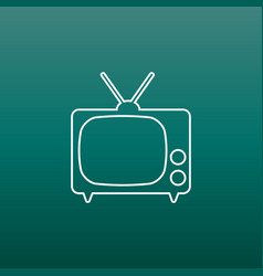 Tv icon in line style on green background vector