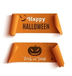 Two Halloween banners isolated on white vector image vector image