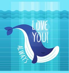 Whale - modern phrase flat vector