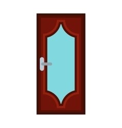 Wooden door with glass icon flat style vector