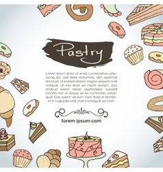 Hand drawn pastry bakery products vector