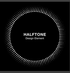 Circle frame halftone dots square background vector