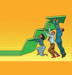 business team lift up growth chart african vector image