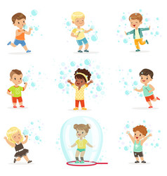 cute little girls and boys blowing and playing vector image