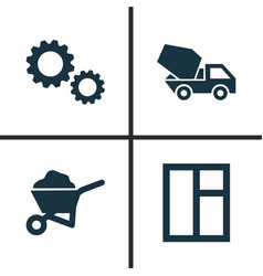 building icons set collection of cogwheel carry vector image