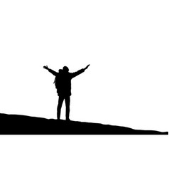 Traveler is standing on top of a mountain vector