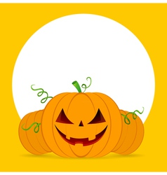 Halloween pumpkins on orange background vector