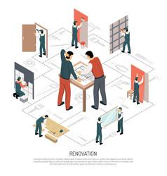isometric renovation infographics vector image