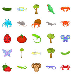 Crustaceans icons set cartoon style vector